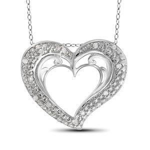 1/10 Cttw Diamond Heart Pendant Sterling Silver